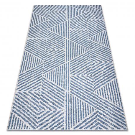 Dywan Sznurkowy SIZAL COLOR 47176360 Linie, trójkąty, zygzak beż / niebieski