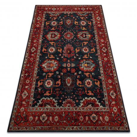 Wool carpet POLONIA Tesoro frame navy blue