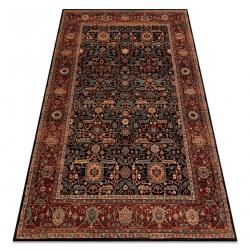 Wool carpet KASHQAI 4348 500 frame, oriental claret / green