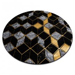 модерен GLOSS килим кръг 400B 86 стилен, glamour, art deco, 3D геометричен черно / злато