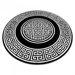 Dywan GLOSS koło nowoczesny 6776 85 stylowy, ramka, grecki klucz czarny / kość słoniowa