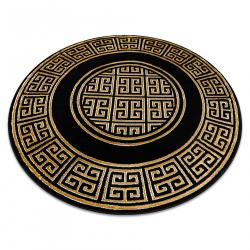 Okrúhly koberec GLOSS moderný 6776 86 štýlový, rám, Grécky čierna / zlato slonová kosť