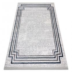 Moderní koberec TULS strukturální, střapce 51242 Rám slonová kost / modrý