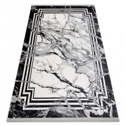 Moderní koberec TULS strukturální, střapce 51210 Mramor antracit