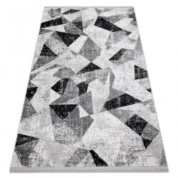 Moderní koberec TULS strukturální, střapce 51211 Geometrický antracit