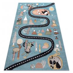 Tapis FUN Route pour enfants, rue, animaux bleu