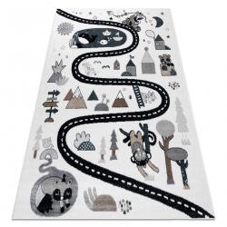 Koberec FUN Route pre deti, ulica, zvieratá krémová