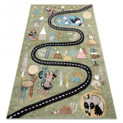 Koberec FUN Route pre deti, ulica, zvieratá zelená