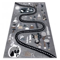 Koberec FUN Route pre deti, ulica, zvieratá sivá