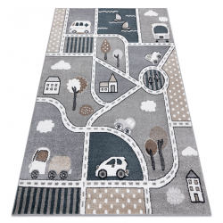 Carpet FUN Strade for children, street, town grey