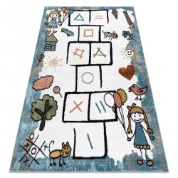 Koberec FUN Hop pre deti, zvieratá modrá
