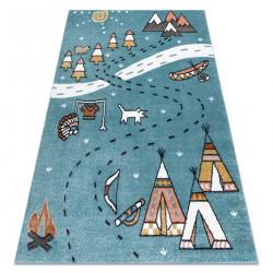 Carpet FUN Indian for children, Indian village, animals blue