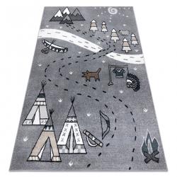 Carpet FUN Indian for children, Indian village, animals grey