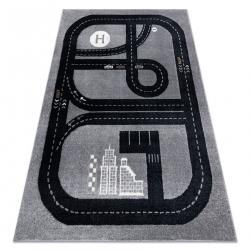 Carpet FUN Track for children, street, town grey