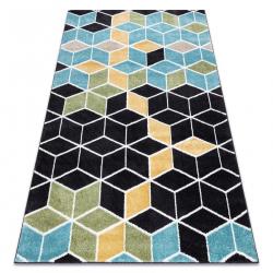Tapete POLI 9139A cubo 3D preto / azul