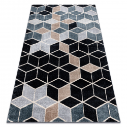 Koberec POLI 9139A kocka 3D čierna / sivá