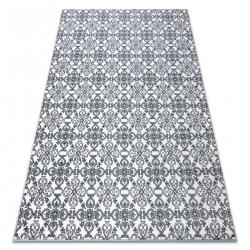Ковер ARGENT - W4949 цветы белый / серый