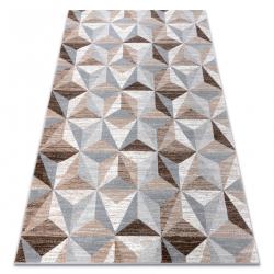 Ковер ARGENT - W6096 треугольники бежевый / серый