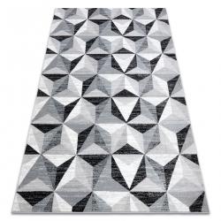 Ковер ARGENT - W6096 треугольники серый / черный