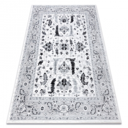 Ковер ARGENT - W7039 цветы серый / черный