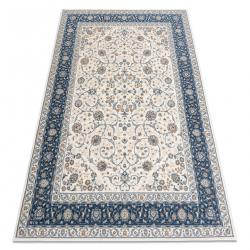 Koberec Vlna NAIN vzor rámu ornament 7179/51913 béžová / tmavo modrá