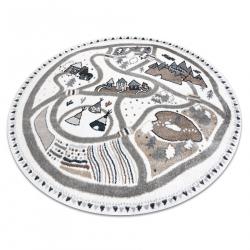 Carpet FUN Land for children, village, streets, circle - cream