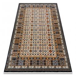 Teppich Wolle KESHAN Franse, Rahmen orientalisch 6428/53551 beige / dunkelblau