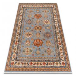 Carpet Wool KESHAN fringe, Frame oriental 7683/53544 beige / blue