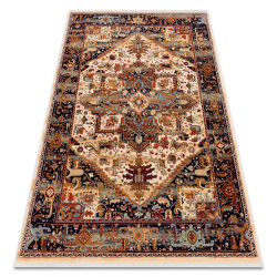 Carpet Wool KESHAN fringe, Ornament oriental 2886/53555 beige / claret