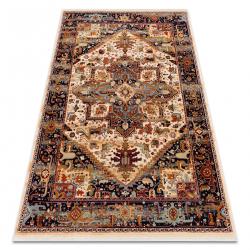 Teppich Wolle KESHAN Franse, Ornament orientalisch 2886/53555 beige / rotwein