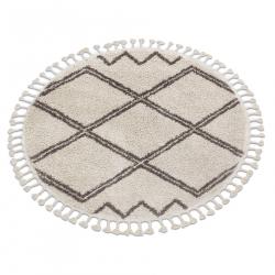 Carpet BERBER ASILA circle cream / brown Fringe Berber Moroccan shaggy
