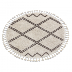 Okrúhly koberec BERBER ASILA, krémová -hnedá - strapce, Maroko, Shaggy