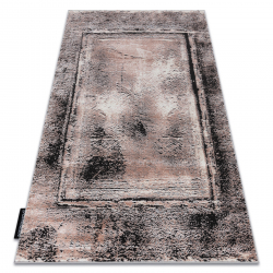 Modern DE LUXE carpet 634 Frame vintage - structural grey / pink