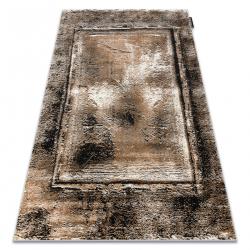 Moderný koberec DE LUXE 634 Rám vintage - Štrukturálny sivá / zlato