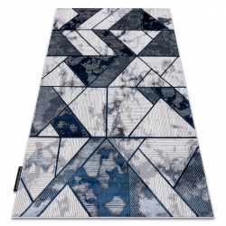 модерен DE LUXE килим 632 геометричен - structural сметана / тъмно синьо