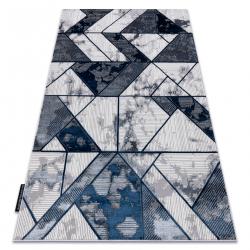 Tapis DE LUXE moderne 632 Géométrique - Structural crème / bleu foncé