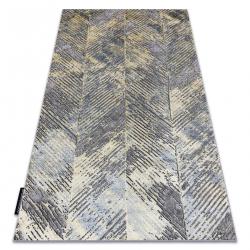 Moderný koberec DE LUXE 2087 Rybia kosť vintage - Štrukturálny zlato / sivá