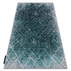 модерен DE LUXE килим 626 геометричен, диаманти - structural сив / зелен
