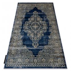 Modern DE LUXE carpet 474 ornament - structural navy / gold
