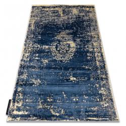 Tapis DE LUXE moderne 473 Ornement vintage - Structural bleu foncé / or