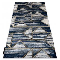 Moderný koberec DE LUXE 462 Geometrický - Štrukturálny tmavomodrý / zlato