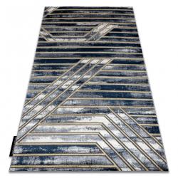 Moderný koberec DE LUXE 460 Pásy - Štrukturálny tmavomodrý / zlato