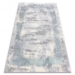 килим CORE A004 Рамка, сенчеста - структурни, две нива на руно, слонова кост / сиво / синьо