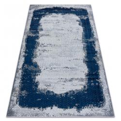 килим CORE A004 Рамка, сенчеста - структурни, две нива на руно, синьо / сиво