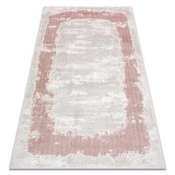 килим CORE A004 Рамка, сенчеста - структурни, две нива на руно, бежово / розово