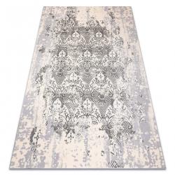 килим CORE W3824 Орнамент Винтаге - структурно, две нива на руно, крем / сив