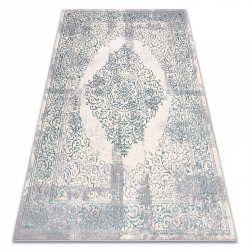 килим CORE W7161 Розета Винтаге - структурно, две нива на руно, светлосиньо / крем / сив