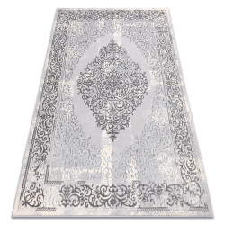 килим CORE W7161 Розета Винтаге - структурно, две нива на руно, сив