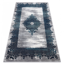 килим CORE W9797 Рамка, Розета - структурни, две нива на руно, синьо / сиво