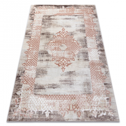 Carpet CORE W9797 Frame, rosette - structural two levels of fleece, beige / pink